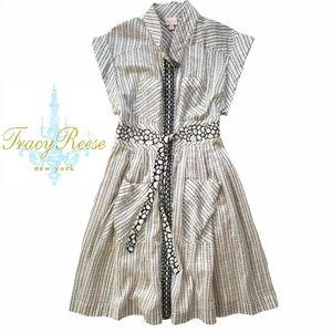 Tracy Reese Silk/Cotton Plaid Shirt Dress